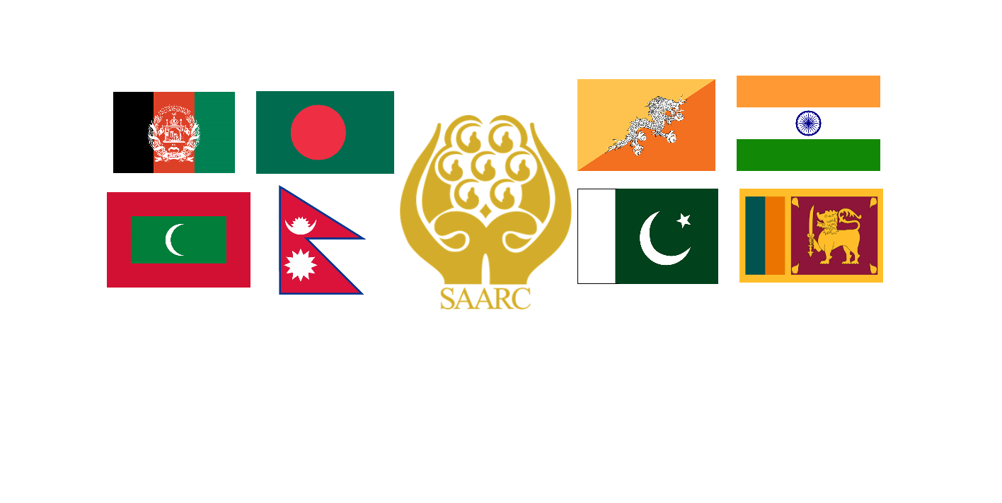 SAARC logo and countries flags